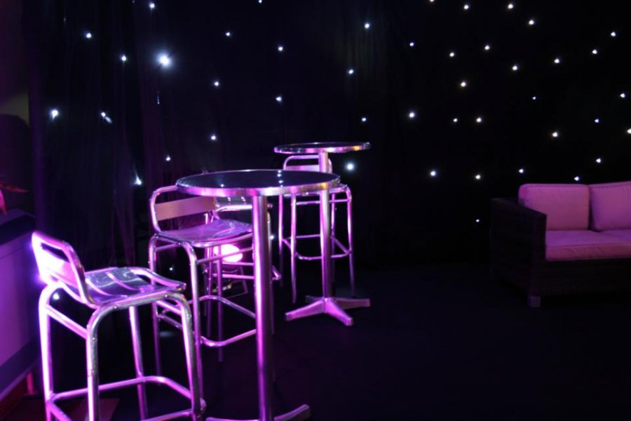 Poseur Tables, Starlit Drapes & Lounge