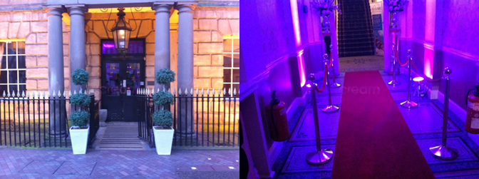 city rooms red carpet,city rooms uplighting,city rooms topiary